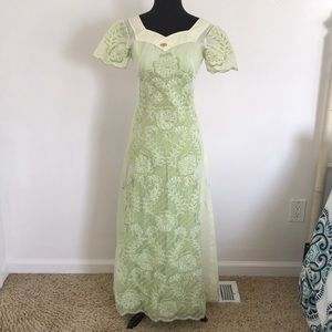 Stunning Vintage 70s Two Piece Green Dress Size XS